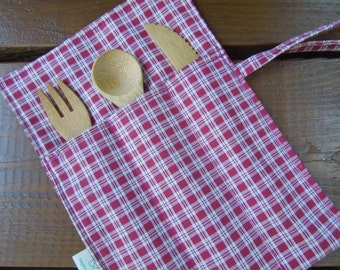 Reusable bamboo cutlery and roll up carrying pouch  - Picnic cutlery roll - Flatware pouch - Bamboo cutlery - Checkers
