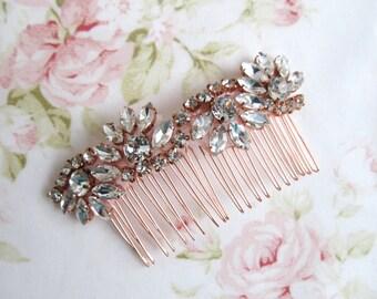 Rose Gold Bridal Hair Comb,Rhinestone Wedding Hair Comb,Bridal Hair Accessories,Wedding Accessories,Decorative Hair Comb #C52