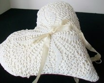 Wedding ring pillow Ring bearer Vintage lace doily Heart shaped puff