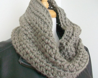 Chunky cowl in Neutral taupe Goes with everything Hand crocheted Winter wardrobe