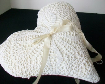 Heart shaped Wedding ring pillow Ring bearer pillow Valentine wedding  Vintage lace doily remake