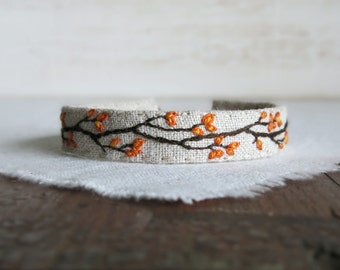 Fall Foliage Cuff Bracelet - Hand Embroidered Branch with Orange Leaves on Natural Linen