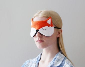 Orange Fox Sleep Mask, Fleece, Soft Light Blocker, Woodland Accessory, Silk Back