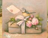 Oiseau Boite cadeau Ruban Fleurs Roses Message, Tag, Reproduction tableau , toile  cadre © Hélène Flont Designs
