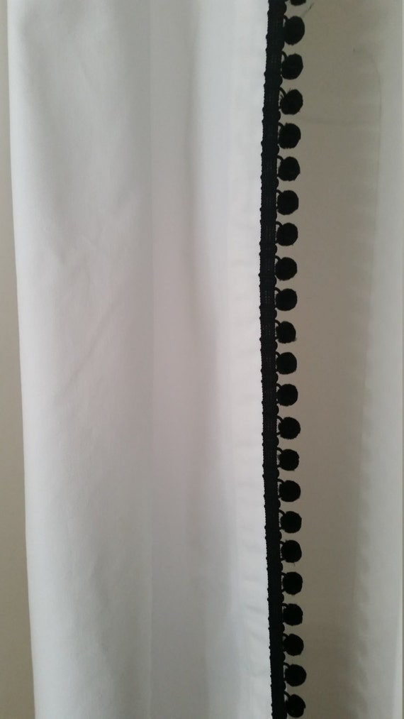 Classic White Cotton Shower Curtain With Black Ball Fringe