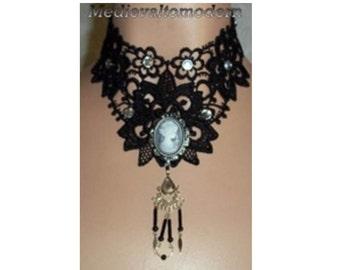 OOAK Black Cameo Lace Prom Steampunk Goth Collar Teardrop Formal Collar Victorian Style Gothic Design Fabric Jewelry Teardrop