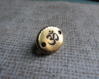 Gold Om Link, Gold Antique Om Link, Om Link, Om Bracelet Link, Yoga Jewelry, Word Beads, Words,