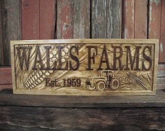 Personalized Family Name Signs Farming Sign Corn Crop Tractor CARVED Custom Wood Sign Last name wedding gift Tractor farming Christmas gift
