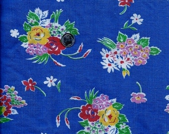 Vintage FEEDSACK Flour sack Quilting Cotton Fabric - Pretty Yellow, Red & Lavender  Flowers on Blue Background - 35 x 41