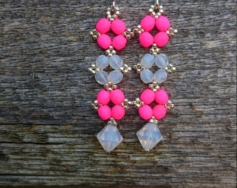 Summer Sale Silver, Neon Pink and White earrings with Swarovski beads