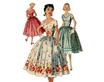 1950s Easy Dress Pattern Full Skirt Fit and Flare Party Dress V Neck Short Sleeve Simplicity 1159 Junior Bust 29 Vintage Sewing Pattern