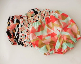 Choice of baby toddler bloomers-black white stripe floral--multi triangles--orange aqua gold geometric