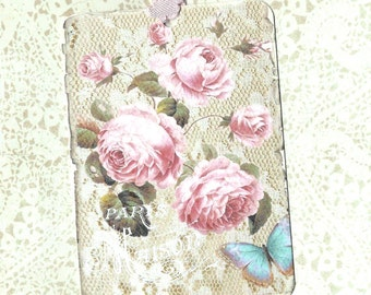 Tags, Roses, Vintage Style, Gift Tags, Pink Roses, Farmhouse, Cottage, Party Favors