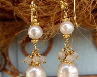 Pearl and moonstone 24k vermeil dangle earrings