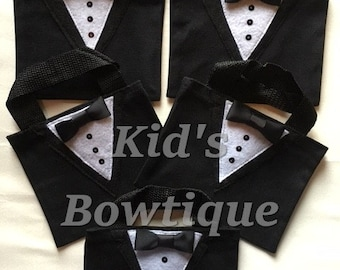 6 Tuxedo Wedding Party Gift Bags - Tux Party Favor Treat Bags - Unique Formal Tux