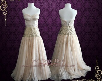 50% OFF SALE Strapless Champagne Long Formal Prom Evening Dress   ST1003