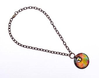 Art Wood Tile, Artisan Necklace, Wood Necklace, Foliage, Lime, Tangerine, Leaves