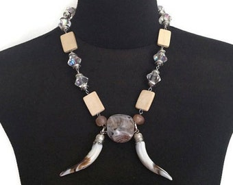 ON SALE Trendy Earthy Neutrals Double Horn Modern Tribal Necklace with Wood and Crystals