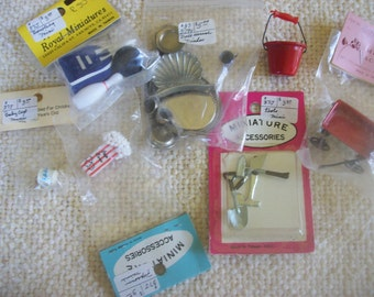 Lot of 7 Miniature Doll House Accessories or Shadowbox Accessories