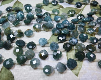 "21. Moss Agate 13x13mm or 12x22mm Faceted Briolette Shape 8"" Inches Strand Stones Beads"