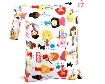 Girl Power Large Wet Bag - Waterproof Lined Bag Perfect for Cloth Diapers, Wet Swimsuits, Mama Cloth Pads, Potty Training and So Much More.