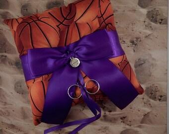 Basketball Orange Fabric Royal Purple Bow Basketball Charm Wedding Ring Bearer Pillow