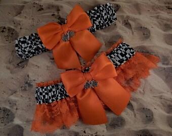 Racing Orange Satin  Orange Lace Flag Charms Wedding Garter Bridal Toss Set