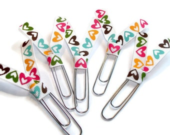 Heart Planner Clips - Heart Ribbon Paperclips - Wedding Planner Clips - Desk Accessories - Ribbon Bookmark - Party Favors -  PC022