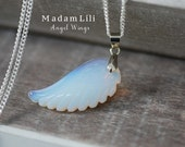 925 Sterling Silver Angel Wing Opal Necklace
