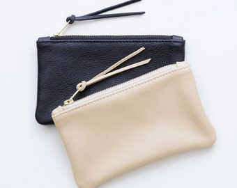 Small Leather Zipper Clutch, Tan Zipper Pouch, Black Zipper Wallet, Small Cosmetic Pouch, Cell Phone Pouch, Everyday Clutch, Make-Up Pouch