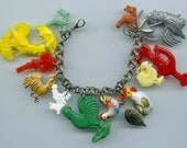 Rooster Theme Charm Bracelet Handmade Recycled Items Some Vintage