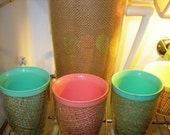 Vintage Raffia Ware Insulated Melamine Pitcher & 3 Tumblers