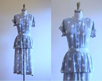 40s Dress - Vintage 1940s Dress - Sheer Polka Dot Rayon Peplum Day Dress S M - Delightfully Dotty