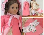 American Girl doll Caroline Regency Gown, Bonnet, Pelisse, Pantaloons, Socks and Shoes