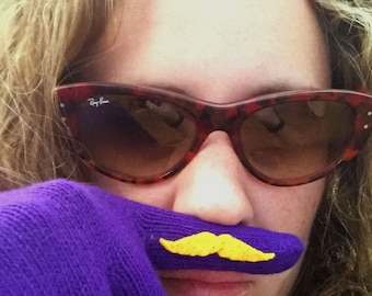 Purple Mustache Gloves with Blonde/Yellow Mustache American Apparel Knit Gloves