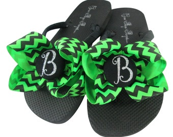 Customizable Bridesmaid Flip Flops - cute sandals for the wedding , bride and bridal party- Neon Green Chevron Bows- options- ladies girls