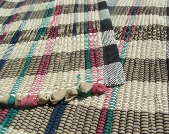 """Rag rug 36""""x 22"""" handwoven Hygge Chindi Rug Woven recycled Rug"""
