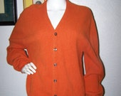 Mens Orange Cardigan Vintage 60s 70s Arnold Palmer for Robert Bruce Size Large Alpaca Wool Sweater Fall Style Trendy Holiday Gift for Him