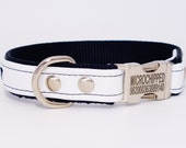 Leather dog collar with nylon lining and personalized engraved side release buckle (Optional engraved buckle upgrade)