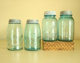Vintage Ball jars, pair of quart mason jars, aqua blue, Ball blue, 2 Shoulder Seal or 2 Perfect Mason jar, antique canning jar, food storage