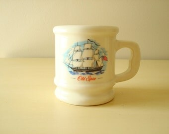 Old Spice coffee mug, coffee cup, 1984-85 Shulton Old Spice aftershave Morning Refresher set, Grand Turk, Stars & Stripes, Movember gift