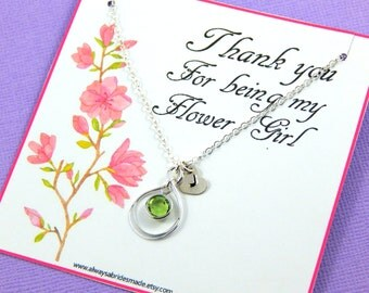 Personalized Flower Girl Necklace, Flower Girl Gift, sterling silver infinity necklace, birthstone necklace, Gift Boxed Necklace