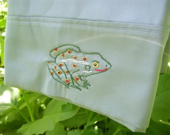 Hand embroidered Leopard Frog standard pillowcase