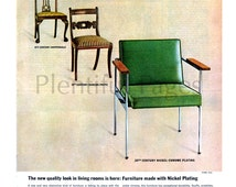 1963 Nickel Plating Vintage Ad, Mid Century Modern, Duncan Phyfe, Chippendale, Retro Decor, Advertising Art, 1960's Decor, Vintage Chairs.