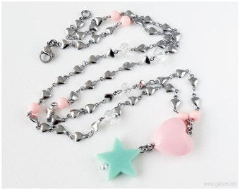 Fairy Kei, Pastel Goth Necklace, Heart and Star Pendant, Pastel Colors, Stainless Steel