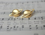 Out of this World. brass planet Saturn post earrings