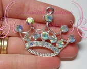 52mm Silver Crown Pendant With Clear AB Rhinestones, Princess Pendant, Use As Keychain, Zipper Pull, Bookmark, Chunky Tiara, Chunky Jewelry