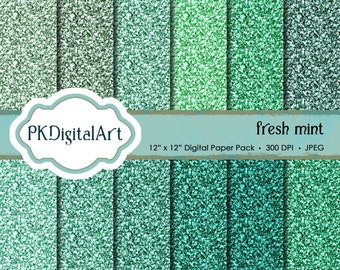 Glitter Paper Pack: Fresh Mint Glitter Digital Papers suitable for scrapbooking, cards, background