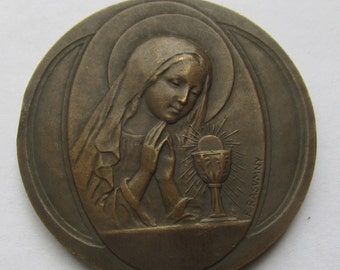 Art Deco First Communion Virgin with Eucharist Antique French  Bronze Religious Medal by Rasumny SS-49