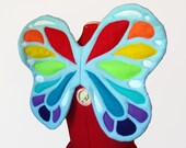 Rainbow Fairy Wings. Light Blue Base, No Wire. Bright Butterfly. Two sizes. Original design.